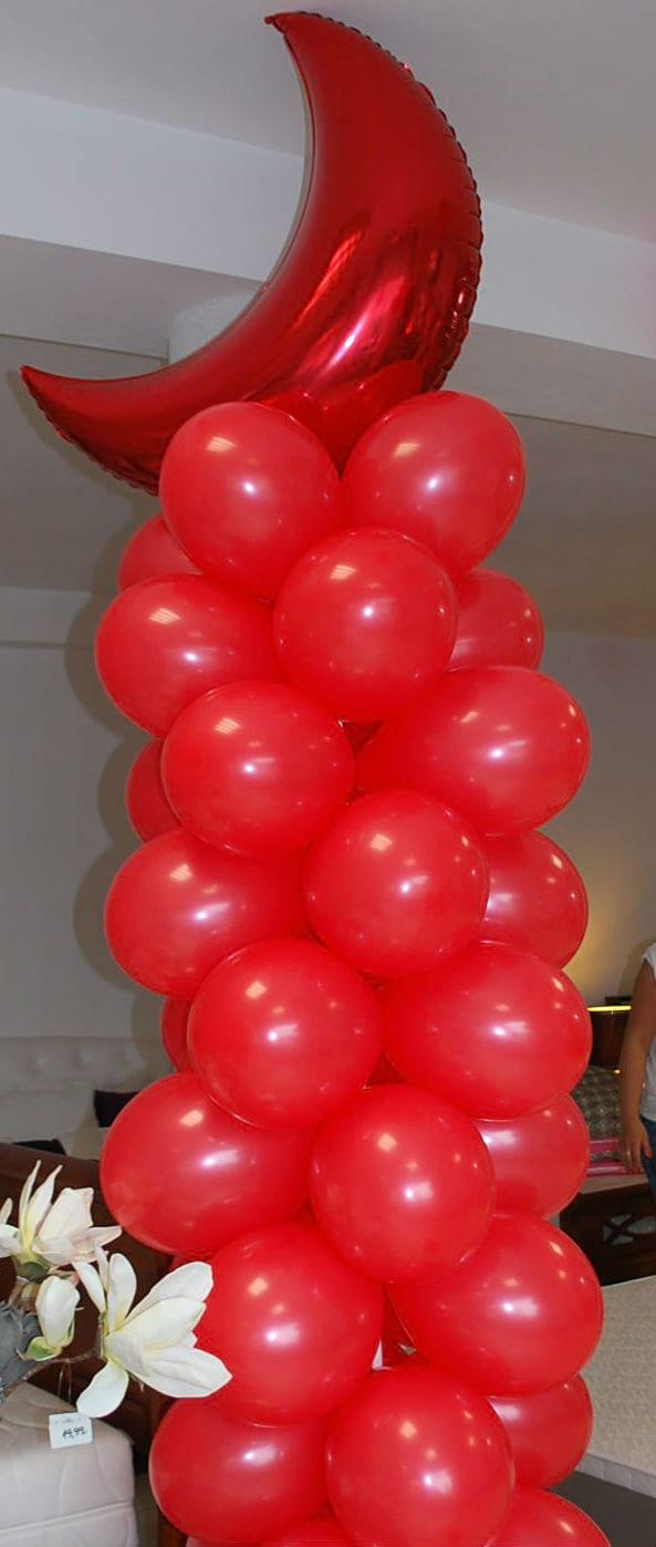 kolumna balonowa z księżycem