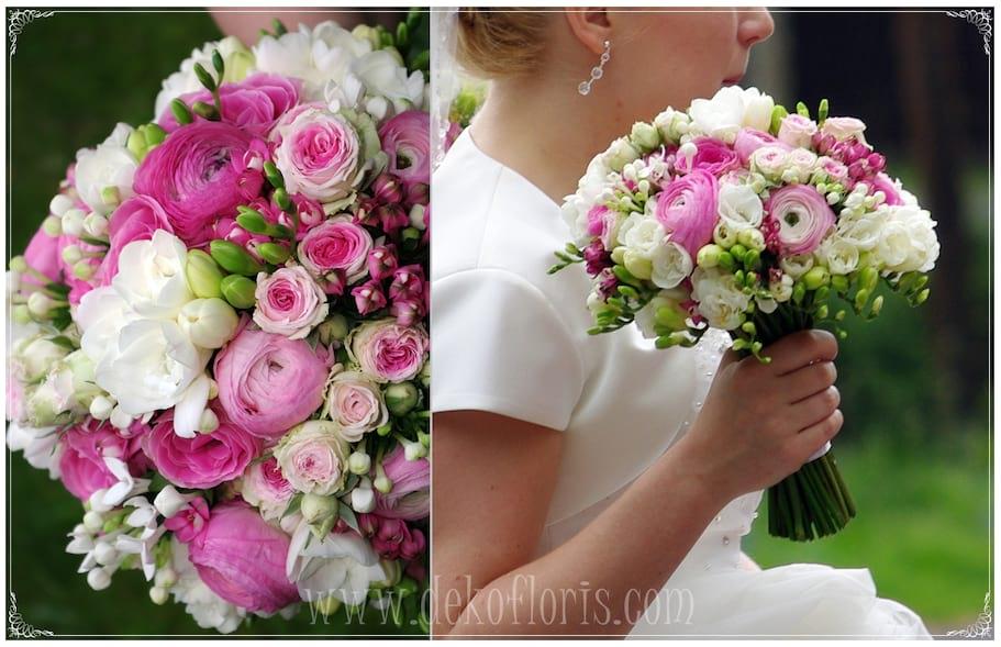 różowy wiosenny bukiet slubny