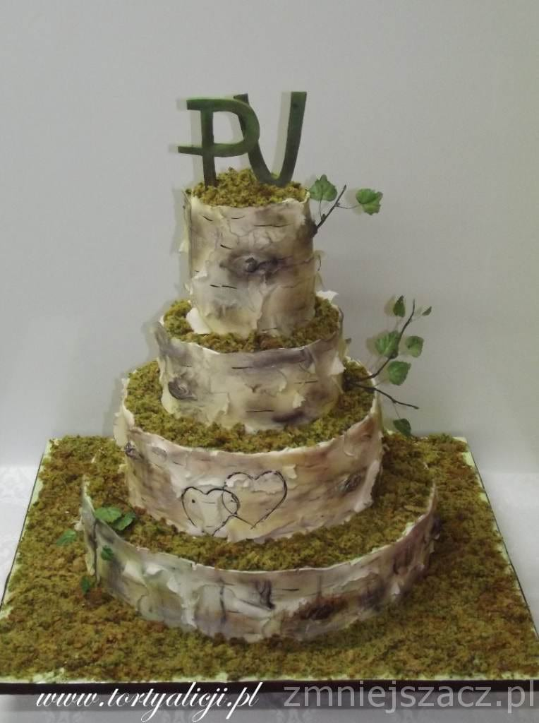 Tort stylizowany na brzozę