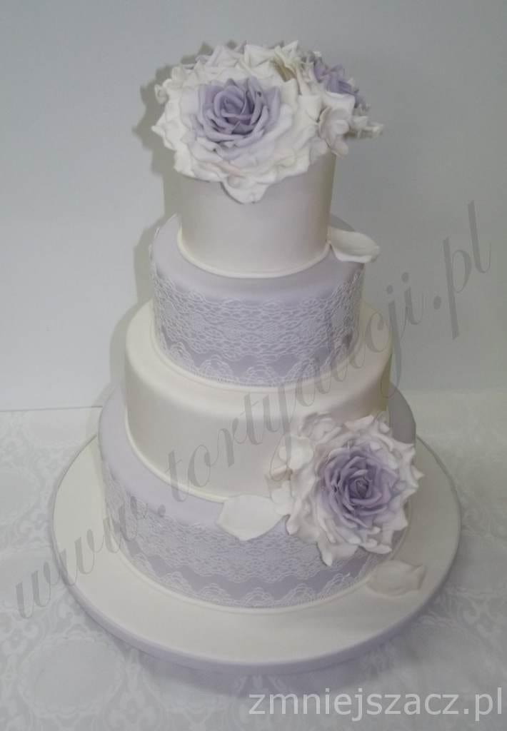 Wrzosowy tort weselny