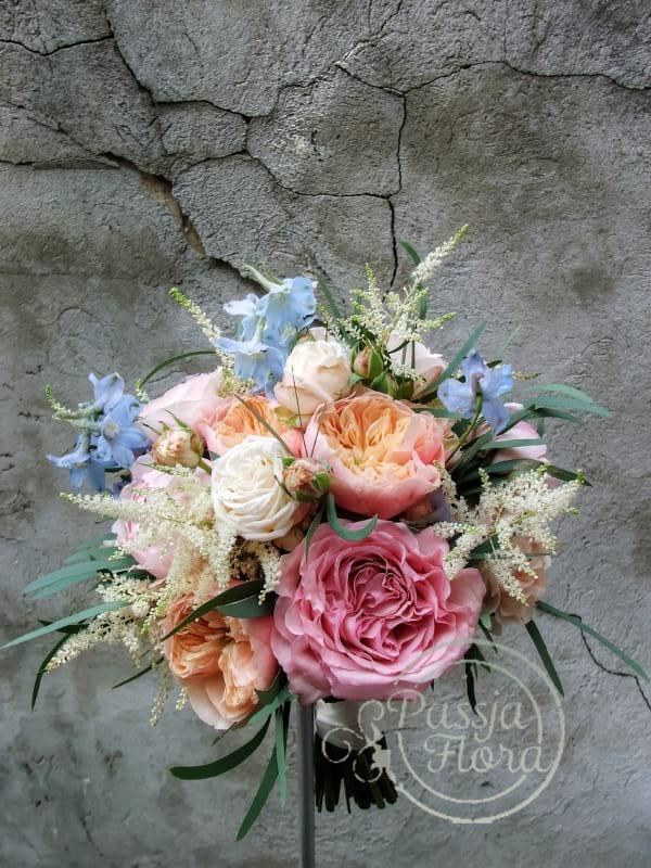 Bukiet ślubny z różami angielskimi