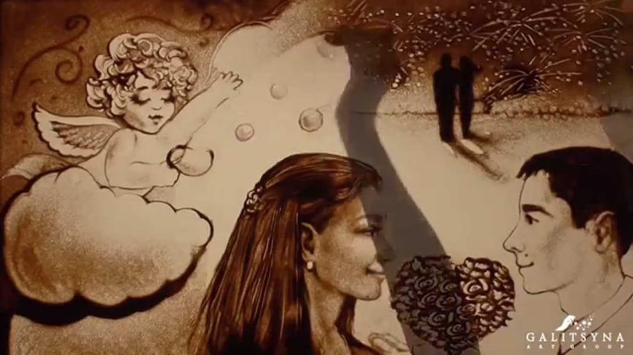 Sand Art by Galitsyna Art Group. Piaskowe Love Story. Malowanie piaskiem