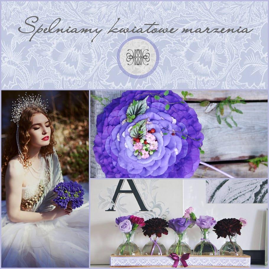 Sesja kwiatowa z modelką w plenerze, wiązanka z szafirków, wiązanka kameliowa z eustomy